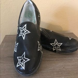 MIA Faux Perforated Leather Star Slip On Shoes